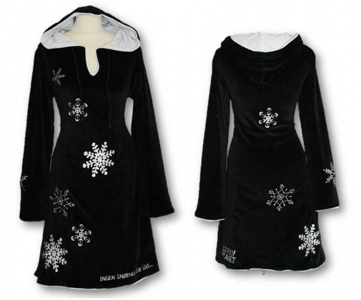 Snøfnugg kjole, Sort med hette